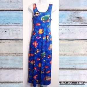 VTG Tropical Fish Novelty Print Maxi Midi Dress